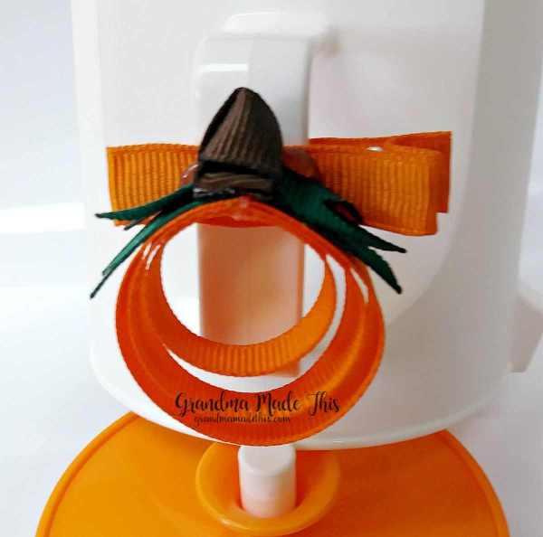 Halloween Pumpkin Ribbon Sculpture Hairclip 1.25in