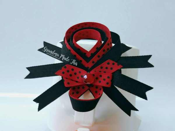 Halloween Spider Ribbon Sculpture Large Hairclips Red