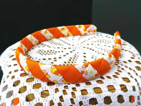Halloween Child Woven Headbands Candy Corn Stripes