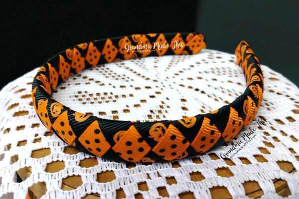 Halloween Child Woven Headband Pumpkins Polka Dots