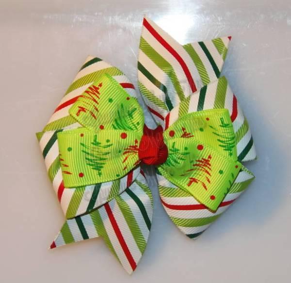 Christmas Trees on Stripes Stacked Quad Pinwheel