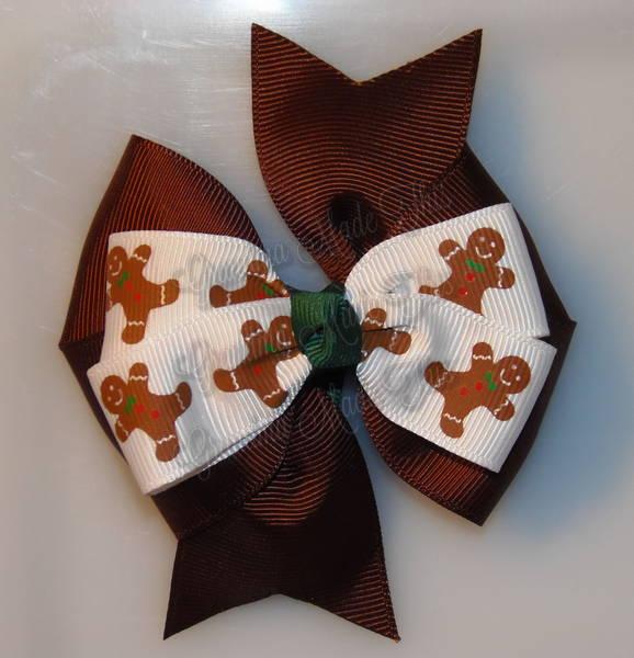 Gingerbread Men Brown Stacked Quad Pinwheel
