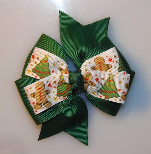Gingerbread Men n Trees Green Stacked Quad Pinwheel