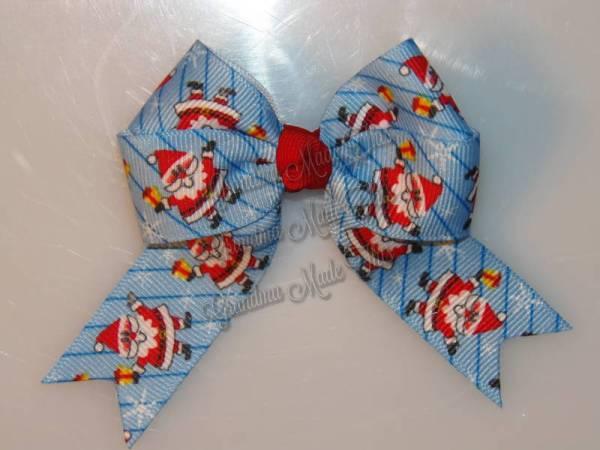 Jolly Santa Claus Long Tail Hair Bow