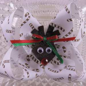 Christmas Reindeer Twisted Ribbon Bow