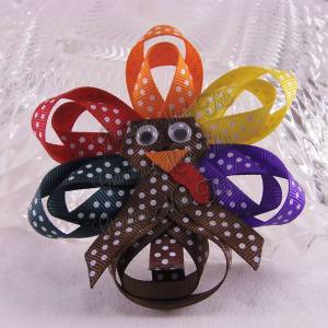 Turkey Ribbon Sculpture Hair Clips Fancy