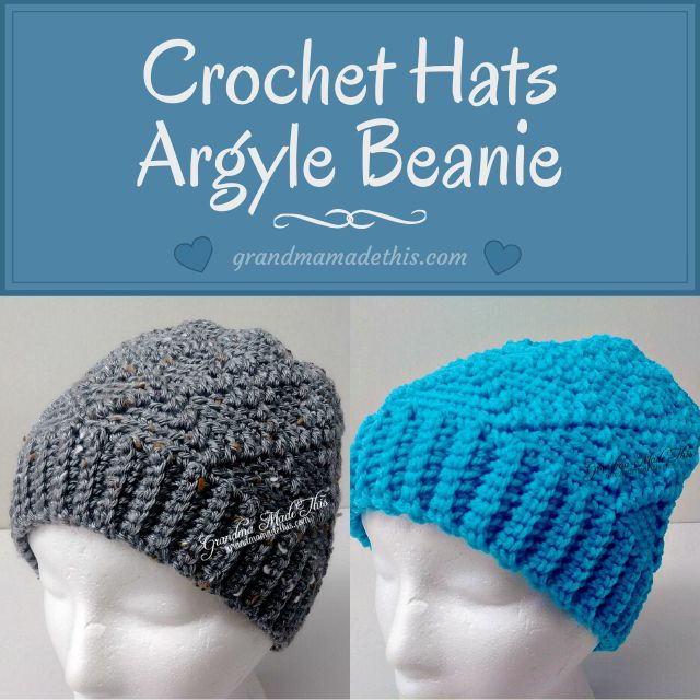 Diamond Argyle Crochet Beanie Hats
