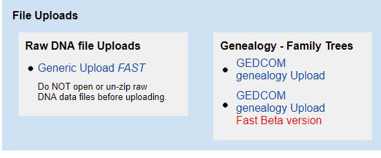 GEDmatch upload link (GEDCOM upload Link too).