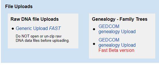 GEDmatch upload link (GEDCOM upload Link too).