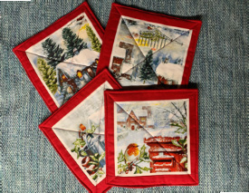 """Winter Hot Pads (approx. 9"""" Long x 9"""" Wide), $5.00 each / All 4 for $16.00"""