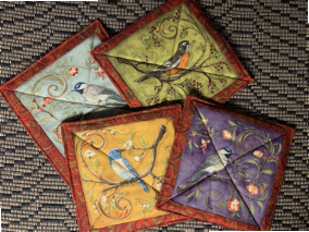 """Bird Hot Pads (approx. 9"""" Long x 9"""" Wide), $5.00 each / All 4 for $16.00"""