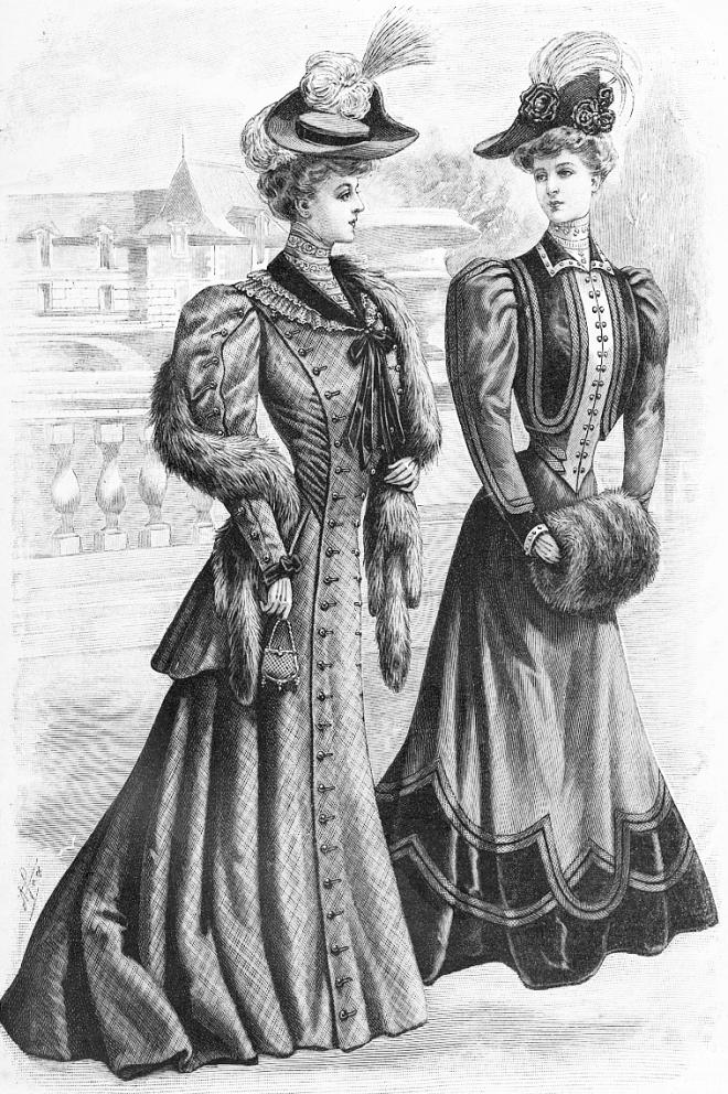Платье с длинным передним полотнищем и баской (слева); Платье из сукна и бархата со светлым жилетом (справа)