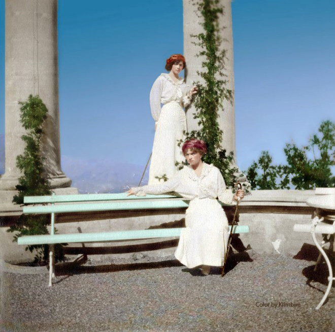 Grand Duchesses Olga and Tatiana in Livadia, Crimea