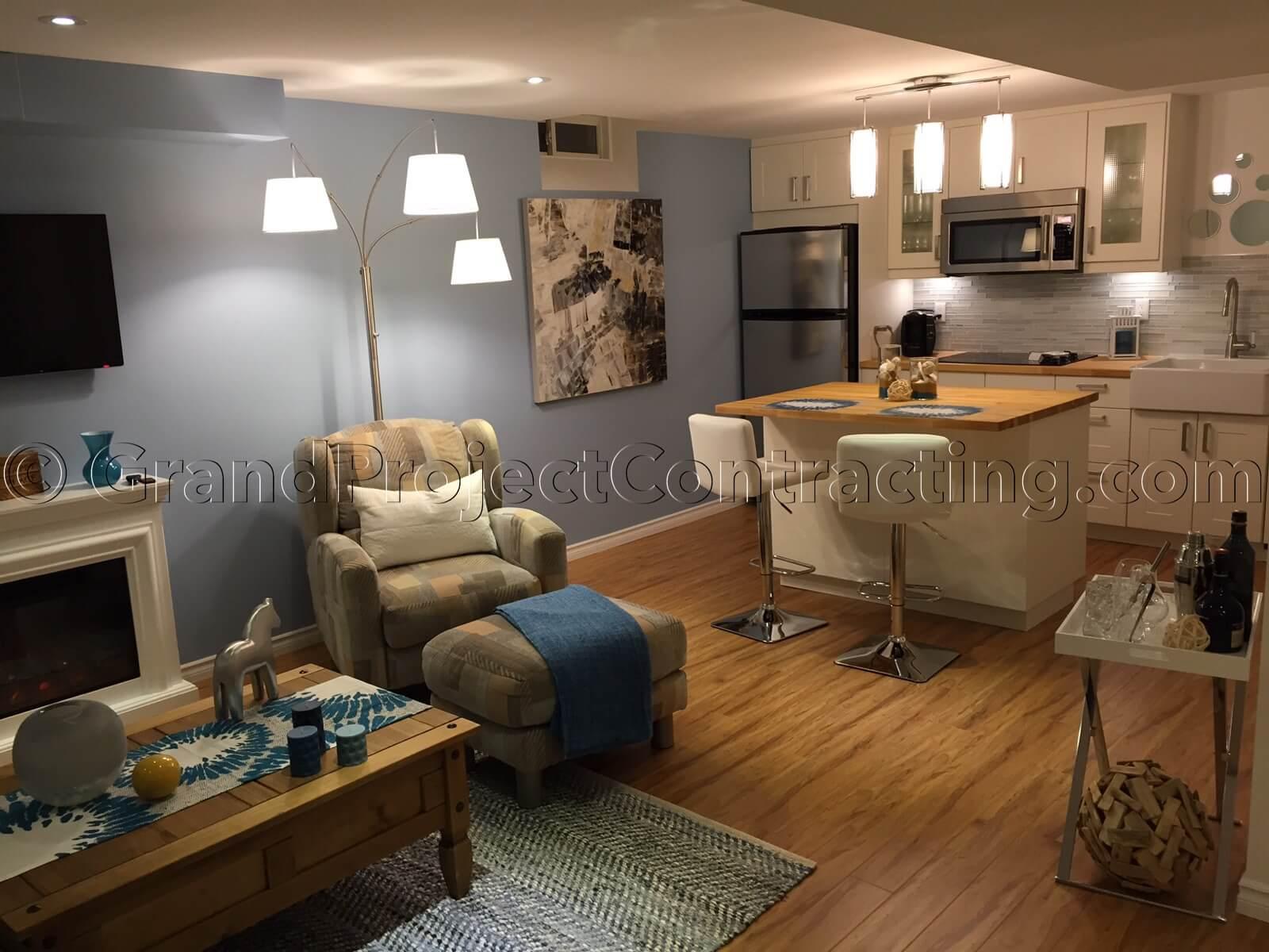 industrial kitchen backsplash island with granite top basement finishing in milton, renovation
