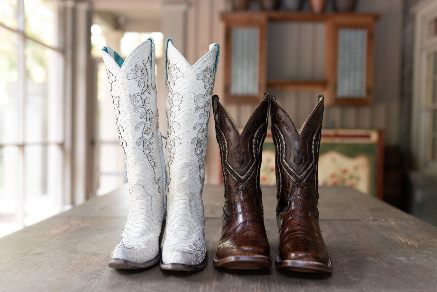 Bride and groom's cowboy boots - Brookgreen Gardens