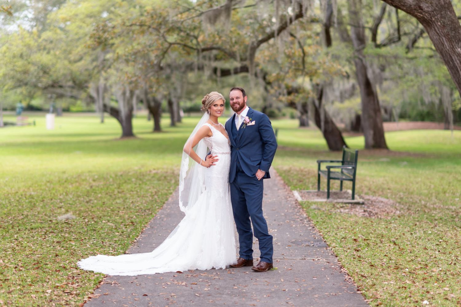 Couple posing on the garden path - Brookgreen Gardens