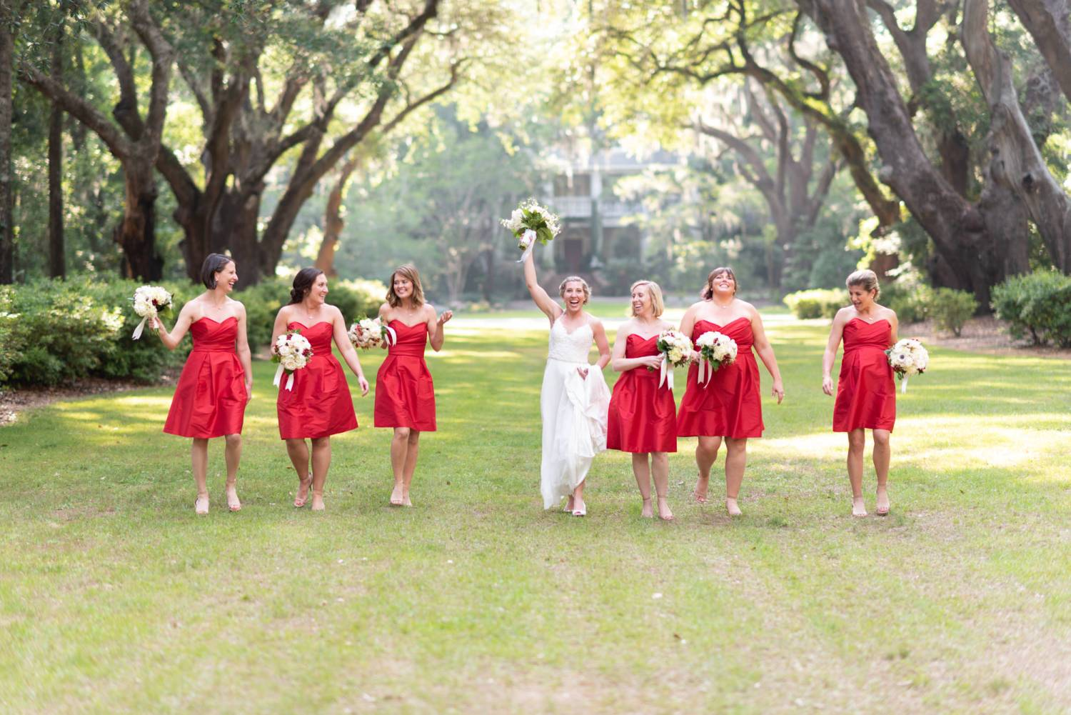 Bridesmaids walking together - Wachesaw Plantation