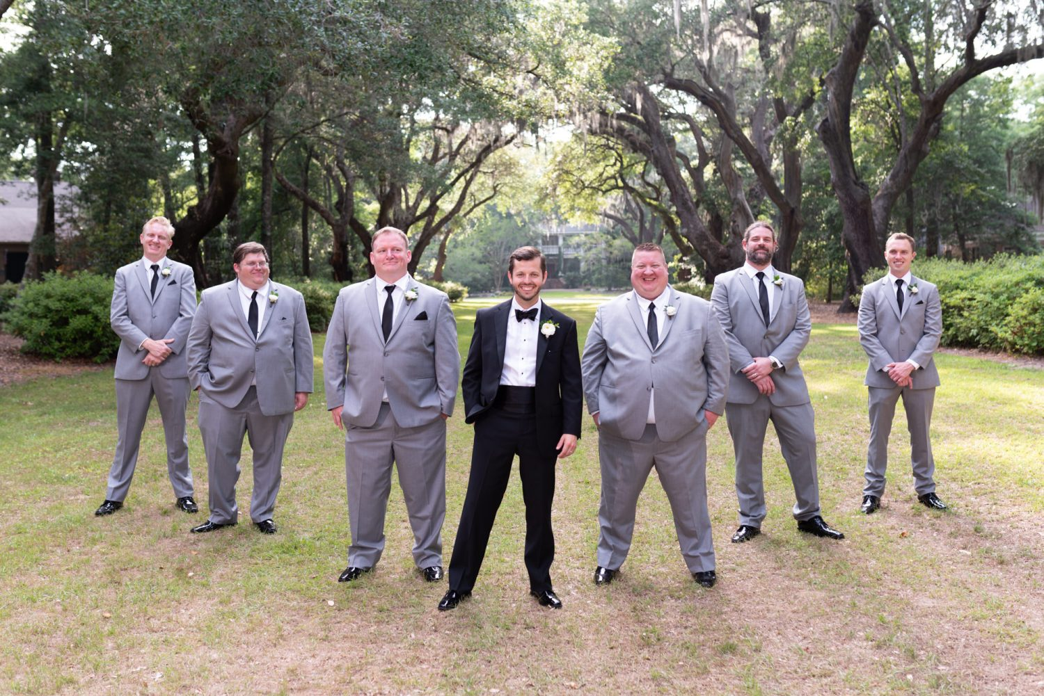 Flying V with groomsmen - Wachesaw Plantation