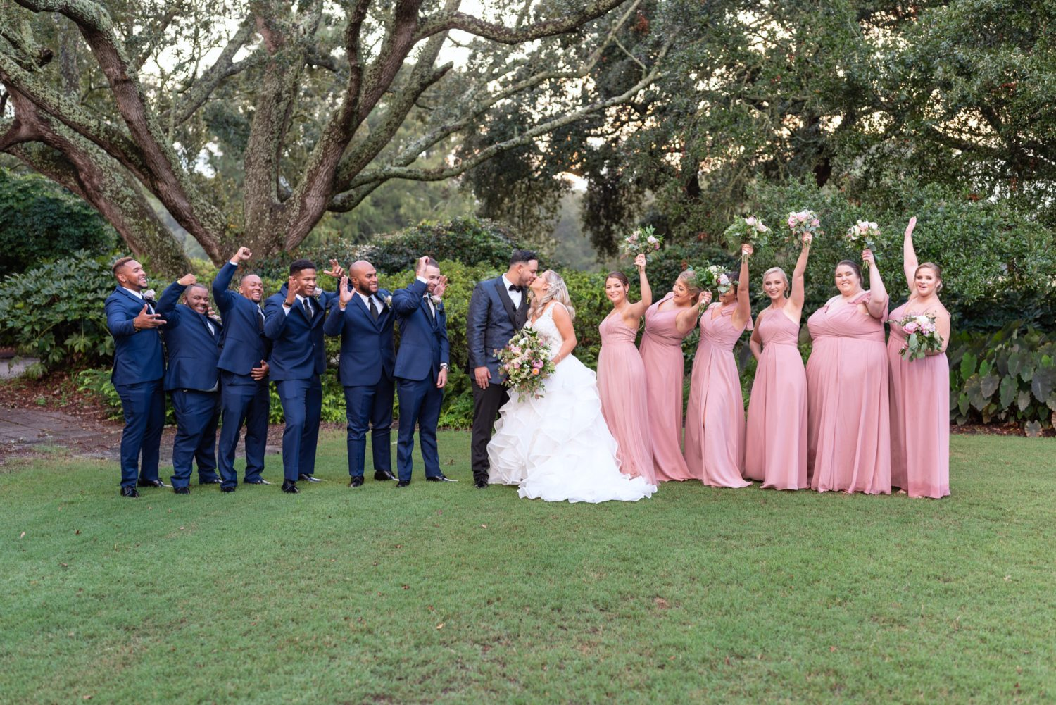 Bridal party portraits on the lawn - Litchfield Country Club