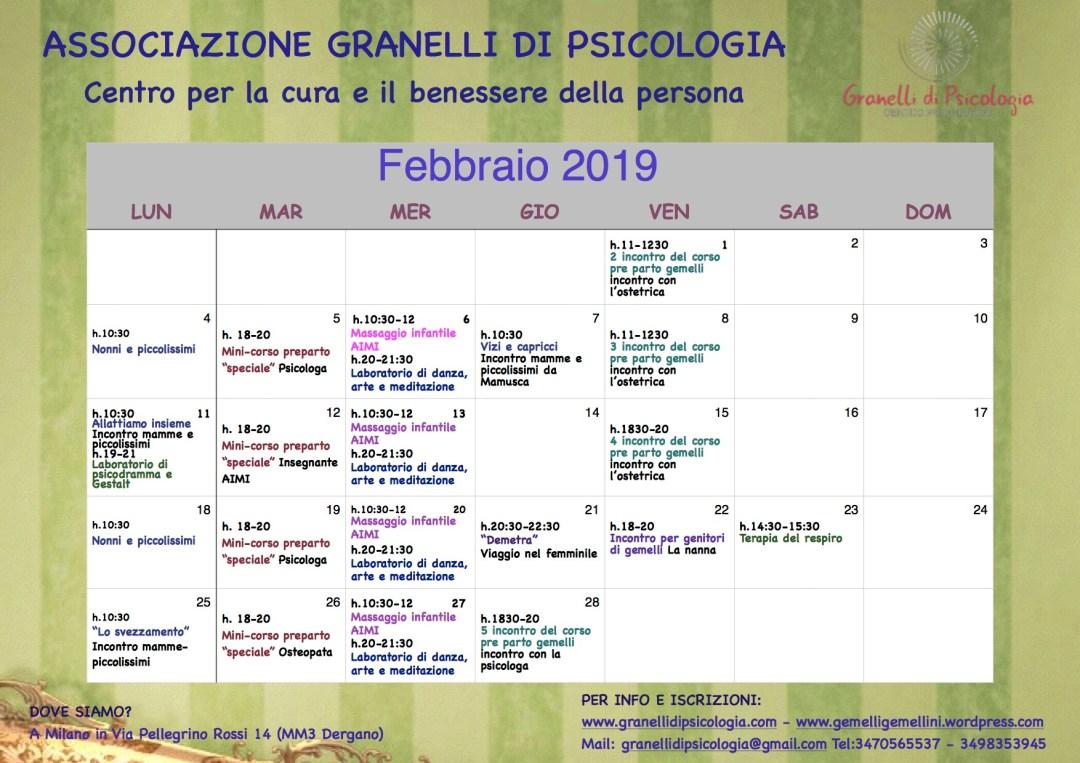 calendario febbraio 2019