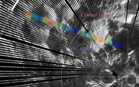 Места падения составных частей миссии LCROSS в районе кратера Кабеус. Изображение NASA/GSFC/UCLA
