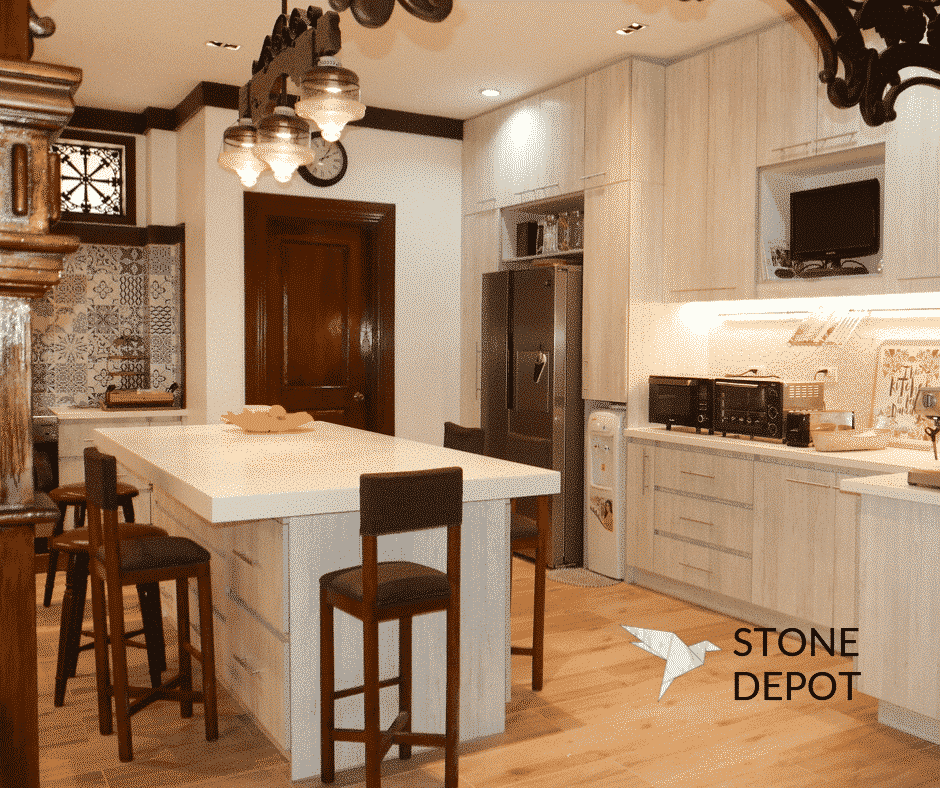 White quartz kitchen countertop and island in a residential house in Cebu, Philippines
