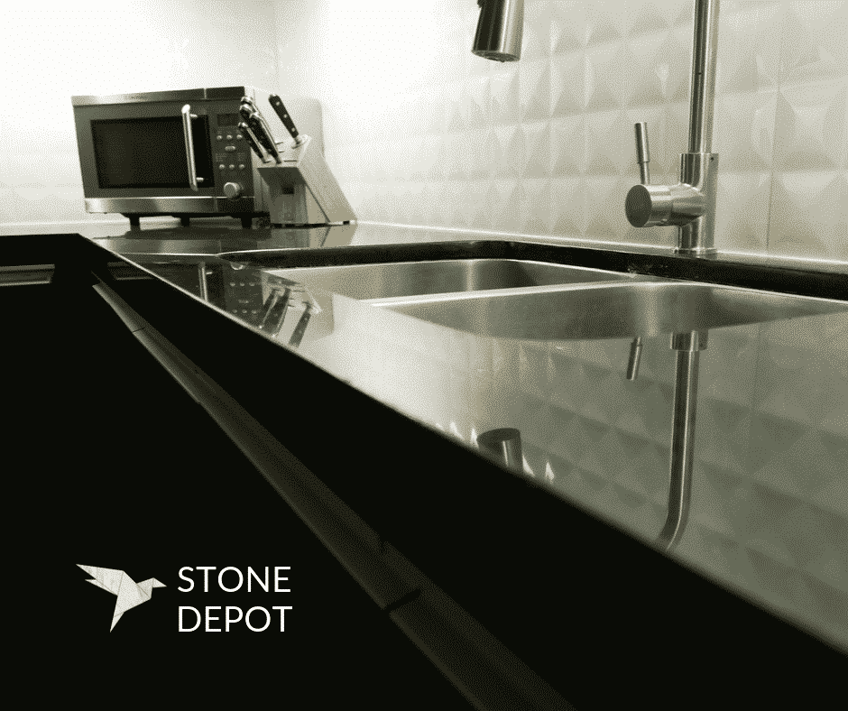 Close-up photo of an Absolute Black Granite countertop with an undermount sink in Mandaue City, Cebu