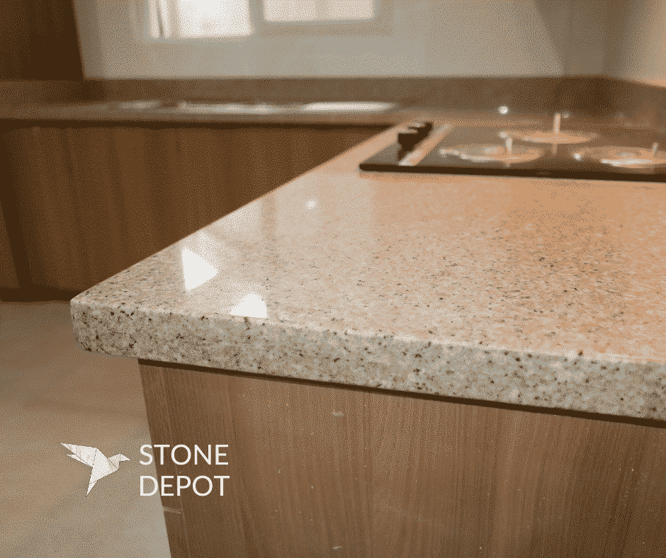 L-shaped beige granite kitchen countertop at Nichols Park in Cebu City