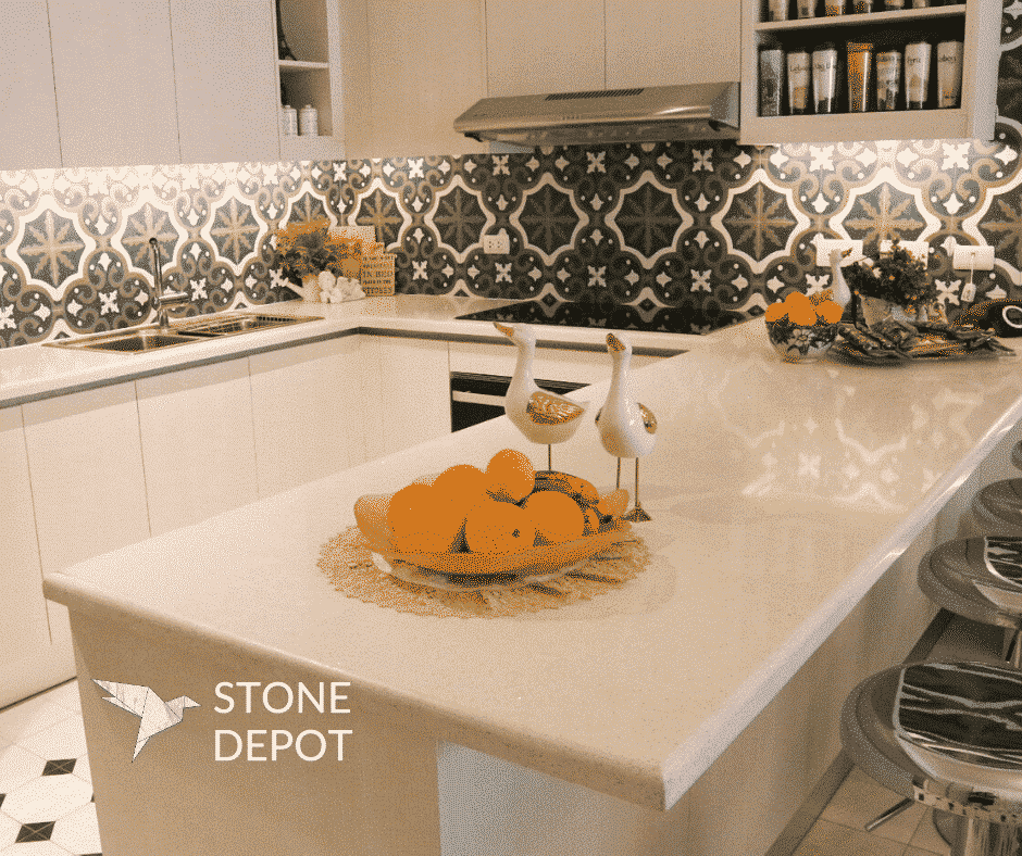 U-shaped White Sapphire quartz kitchen countertop at the Viridian in Greenhills, San Juan City