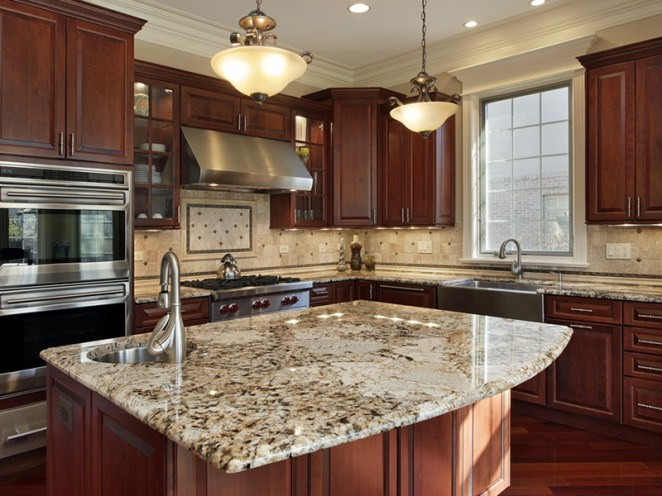 cherry wood kitchen with granite counter tops
