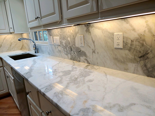 White marble countertop with sink