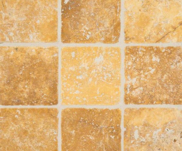 tuscany gold 4x4 tumbled tile