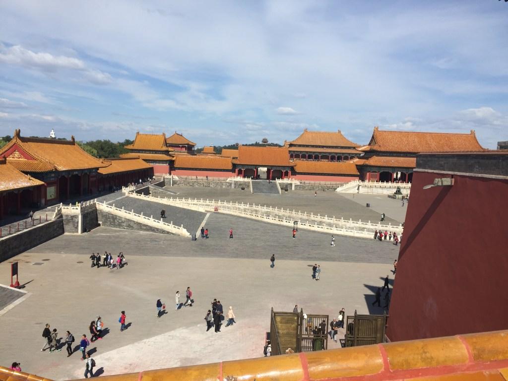 View from the newly opened top of Wu Men (the Meridian Gate) looking into the first plaza of the Forbidden City.