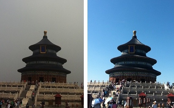 Two photographs of the The Hall of Prayer for Good Harvests (祈年殿) at the Temple of Heaven taken 48 hours apart last summer. Welcome to my world.