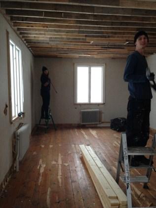 Matsal. Rivning av tak.
