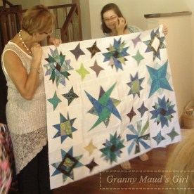 Patchwork quilt made with stars