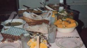 Our family Thanksgiving dinner table from the late 1980s.