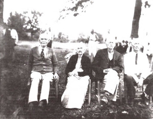 "Oscar ""E.O"" Wright, Irene (or maybe Fannie E. Wright), George Washington Wright, and Wesley J. Wright. Special thanks to Myra Wilson Mathis for helping identify those in this picture."