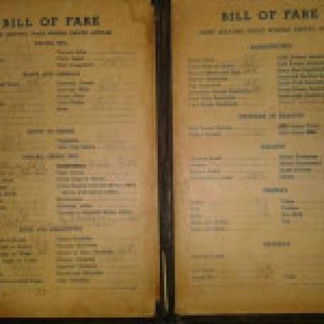 Bill's Cafe menu