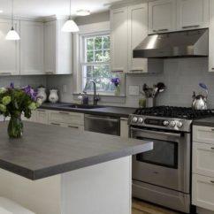 White Kitchen Countertops Utensil Rack Granstone Grey And