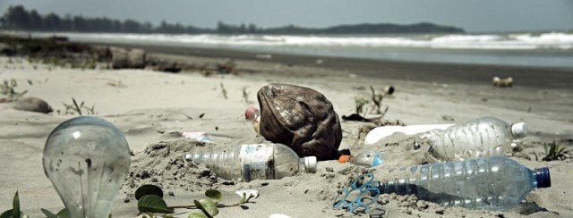 plastic bottles on the beach
