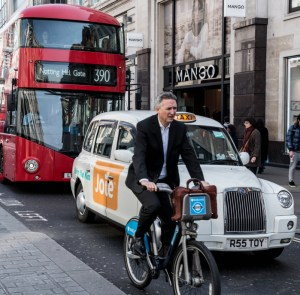 Bike, bus and taxi in London