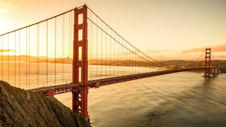 Sunrise over Golden Gate Bridge in San Francisco