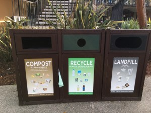 Photo of three bins for sorting waste