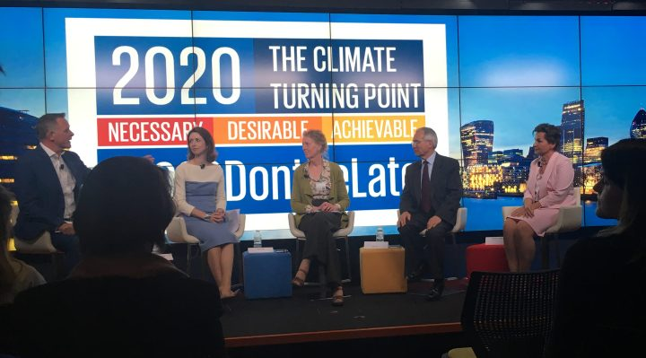 Professor Joanna Haigh and Lord Stern share the stage with Christiana Figueres at the Mission 2020 launch event 10 April 2017