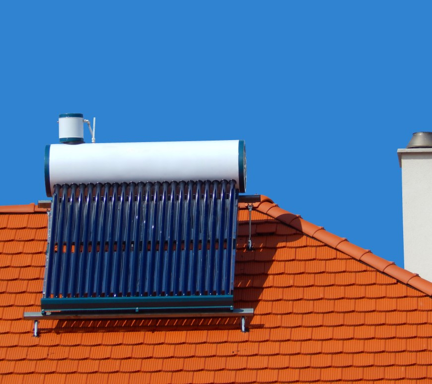 Solar heat water heater and chimney