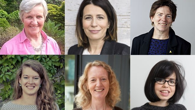 Headshots of some leading ladies in climate change and environmental science at Imperial - Helen ApSimon, Ana Mijic, Jenny Nelson, Clementine Chambon, Joanna Haigh, Jess Wade