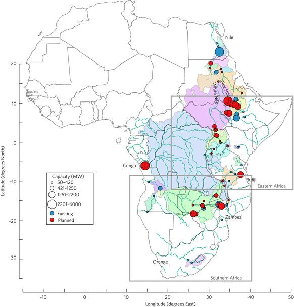 Schematic map shows African river systems with dots indicating the location of current and proposed hydroelectric dams, which are buing built on the same rivers.
