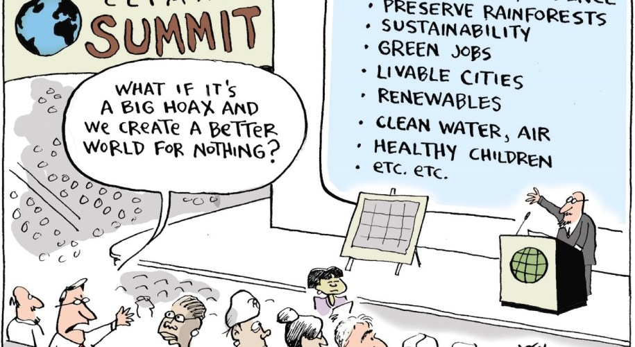Cartoon depicting a climate summit, with a speaker talking the benefits of climate action, and an audience member dismissing action