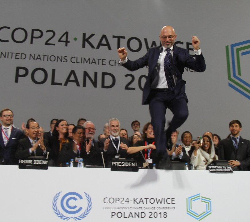 COP24 President Michal Kurtyka jumps in celebration of the approval of the Paris Agreement Work Programme at COP24 in 2018 (c) UNClimateChange